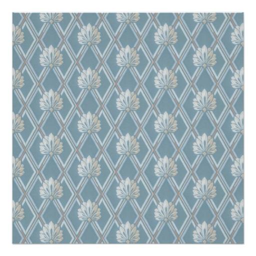 Old Fashioned Blue Lattice Fan Wallpaper Pattern Poster Zazzle 512x512