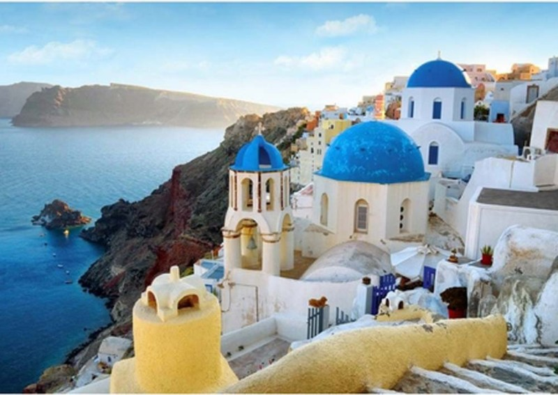 Wall Mural SANTORINI SEASIDE Wallpaper 254x183cm 800x567