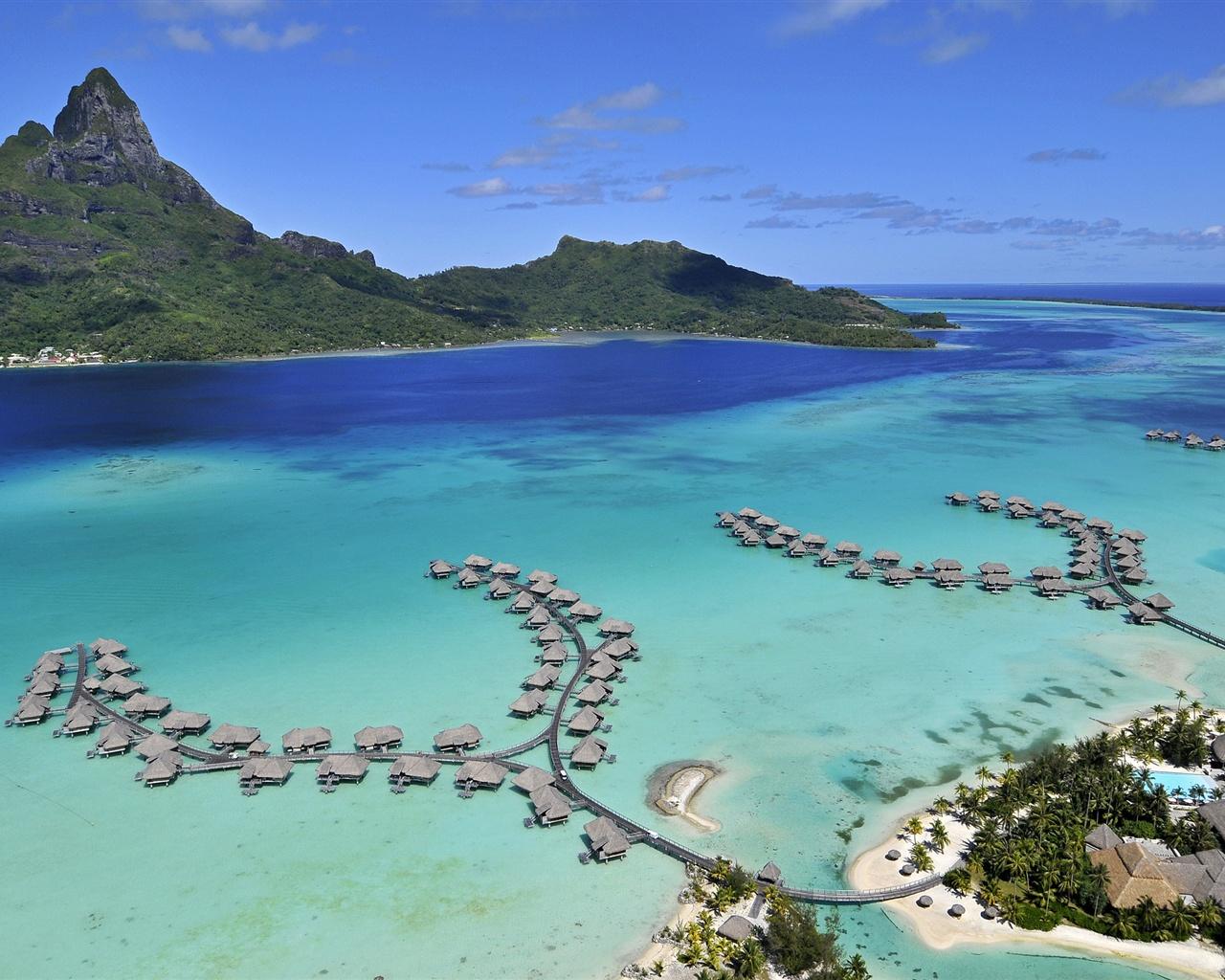 Bora Bora Island sea beach houses 1280x1024jpg 1280x1024