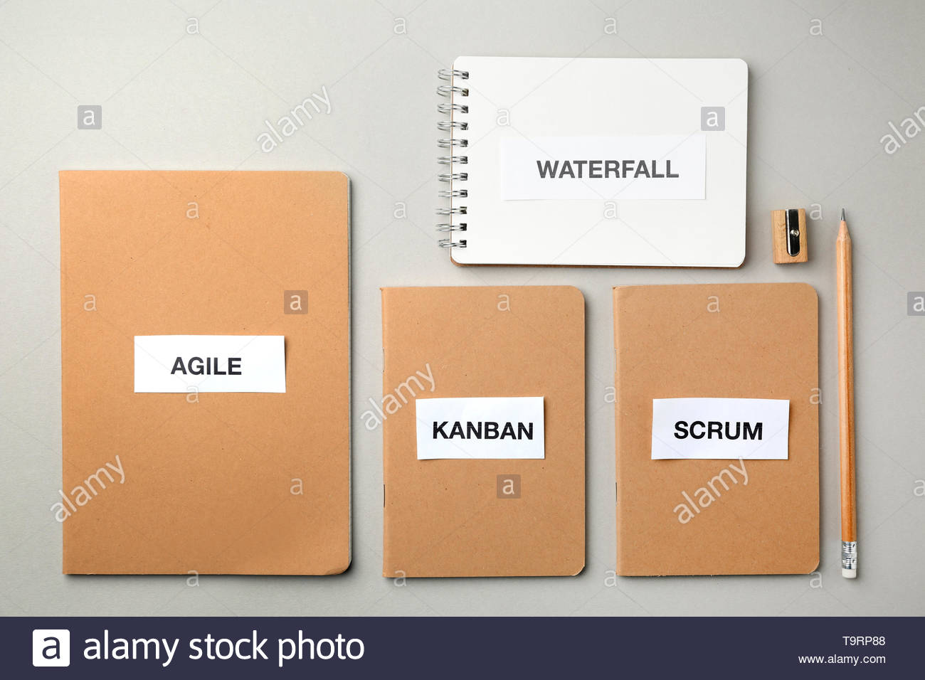 Notebooks with words AGILE WATERFALL KANBAN SCRUM on light 1300x956