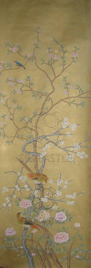 Chinoiserie Handpainted Silk Wallpaper and Mural 300x881