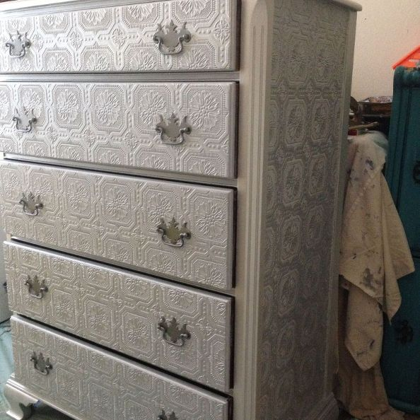 dresser makeover metallic silver paint textured wallpaper diy home 594x594