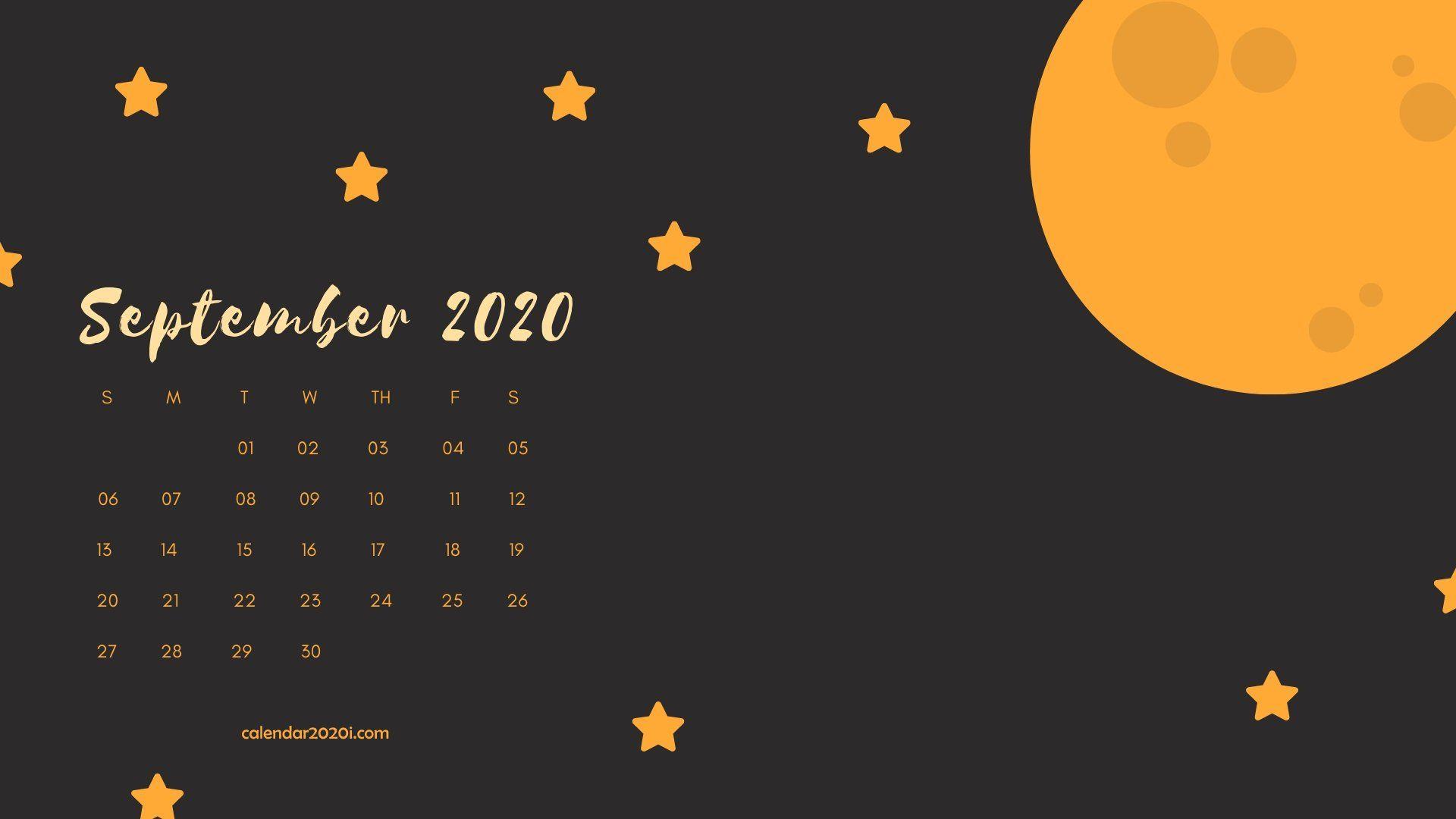 September 2020 Calendar Desktop Wallpaper in 2019 Calendar 1920x1080