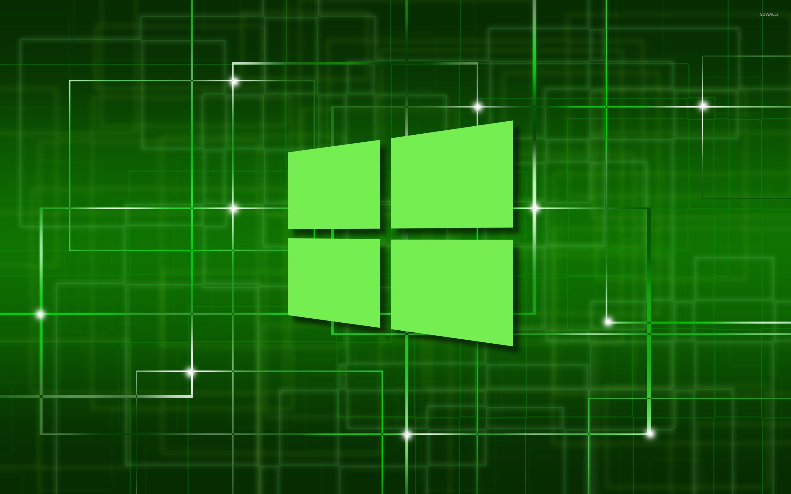 Windows 10 green simple logo on a network wallpaper - Computer ...