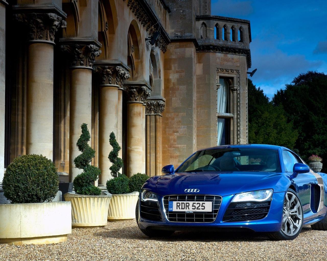 audi r8 v10 carro azul casa carros grandes 1280x1024 Imagens HD 1280x1024