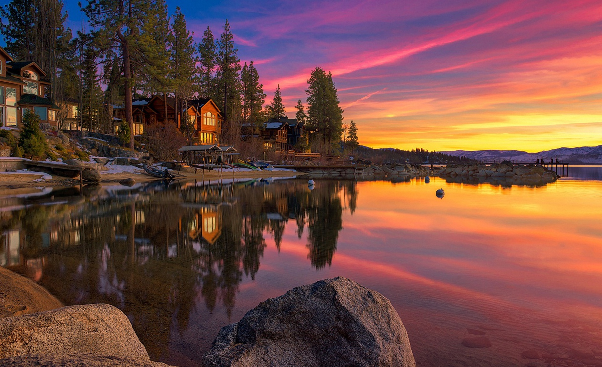 lake house rocks sunset sky clouds Lake Tahoe United States wallpaper 1920x1172