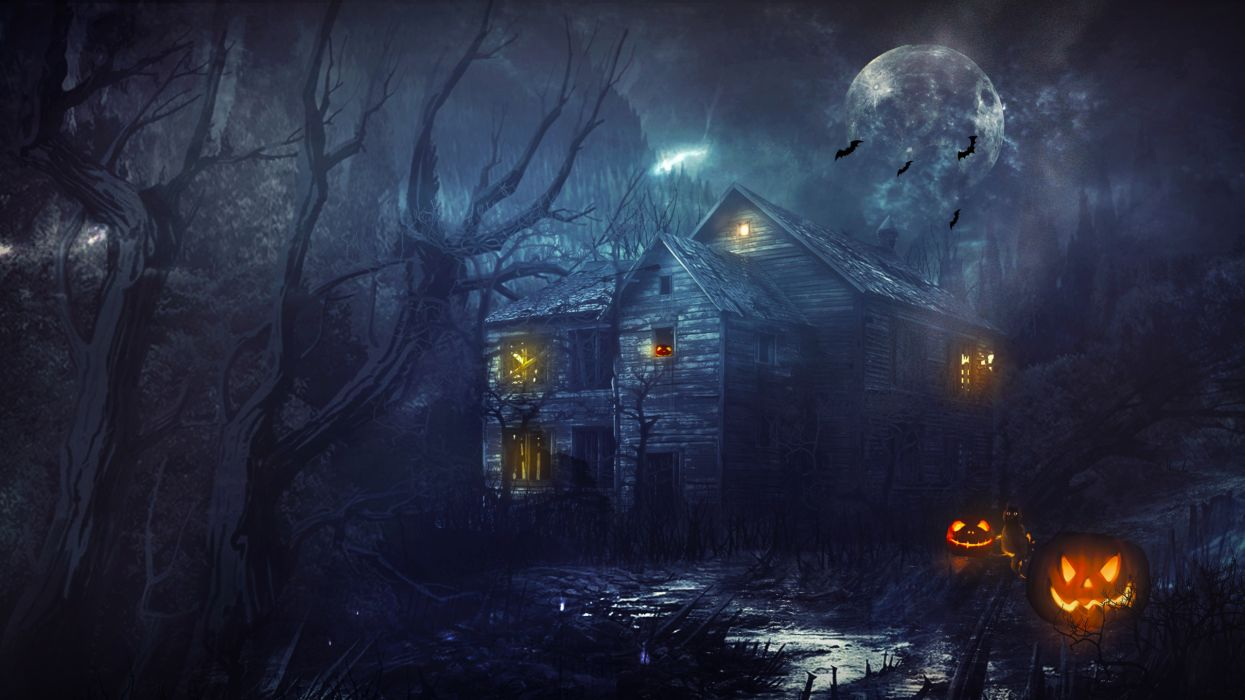 Halloween House Night Moon Pumpkin wallpaper 2560x1440 166945 1245x700