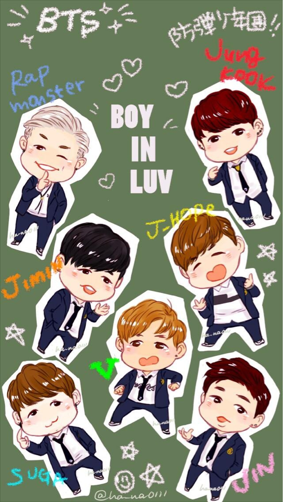 Group of BTS fanart wallpaper for iphone 5 ha na0111 so cute 577x1024