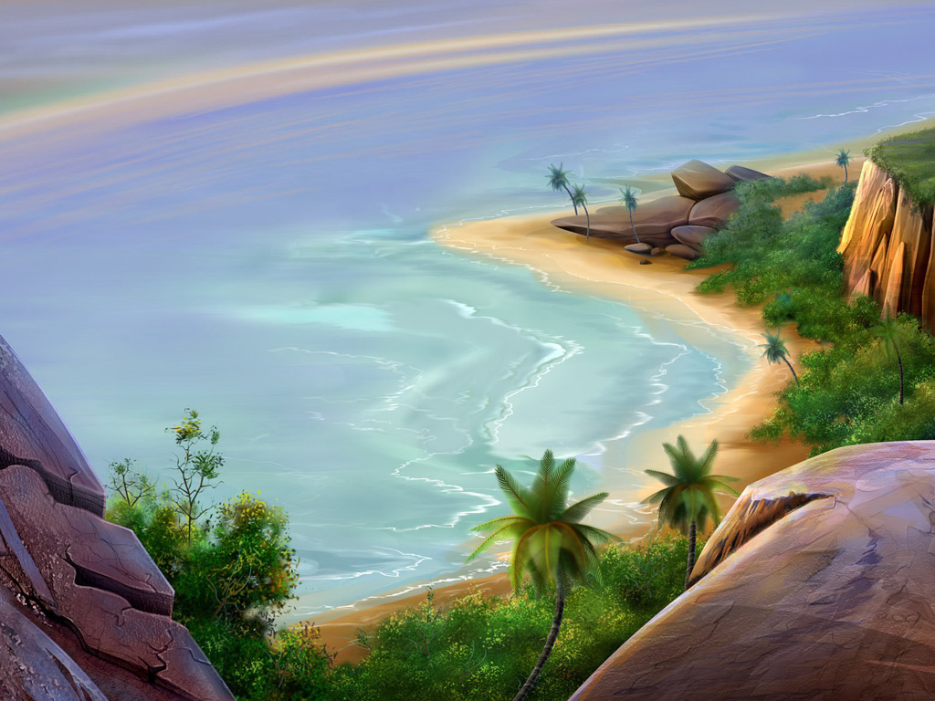 HD tropical island beach scenery wallpaper Desktop Background 1024x768