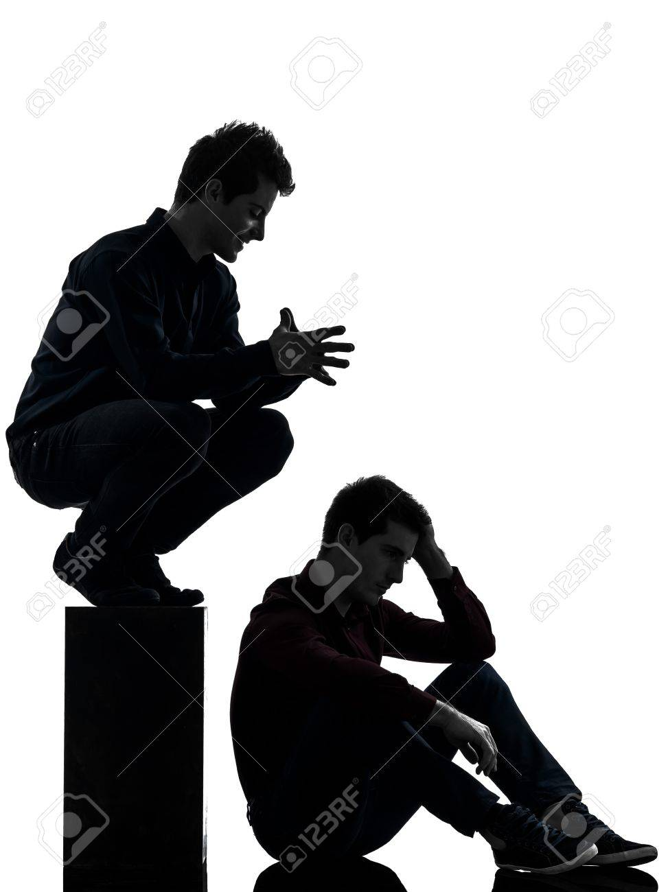 Two Caucasian Young Men Domination Concept Shadow White Background 973x1300