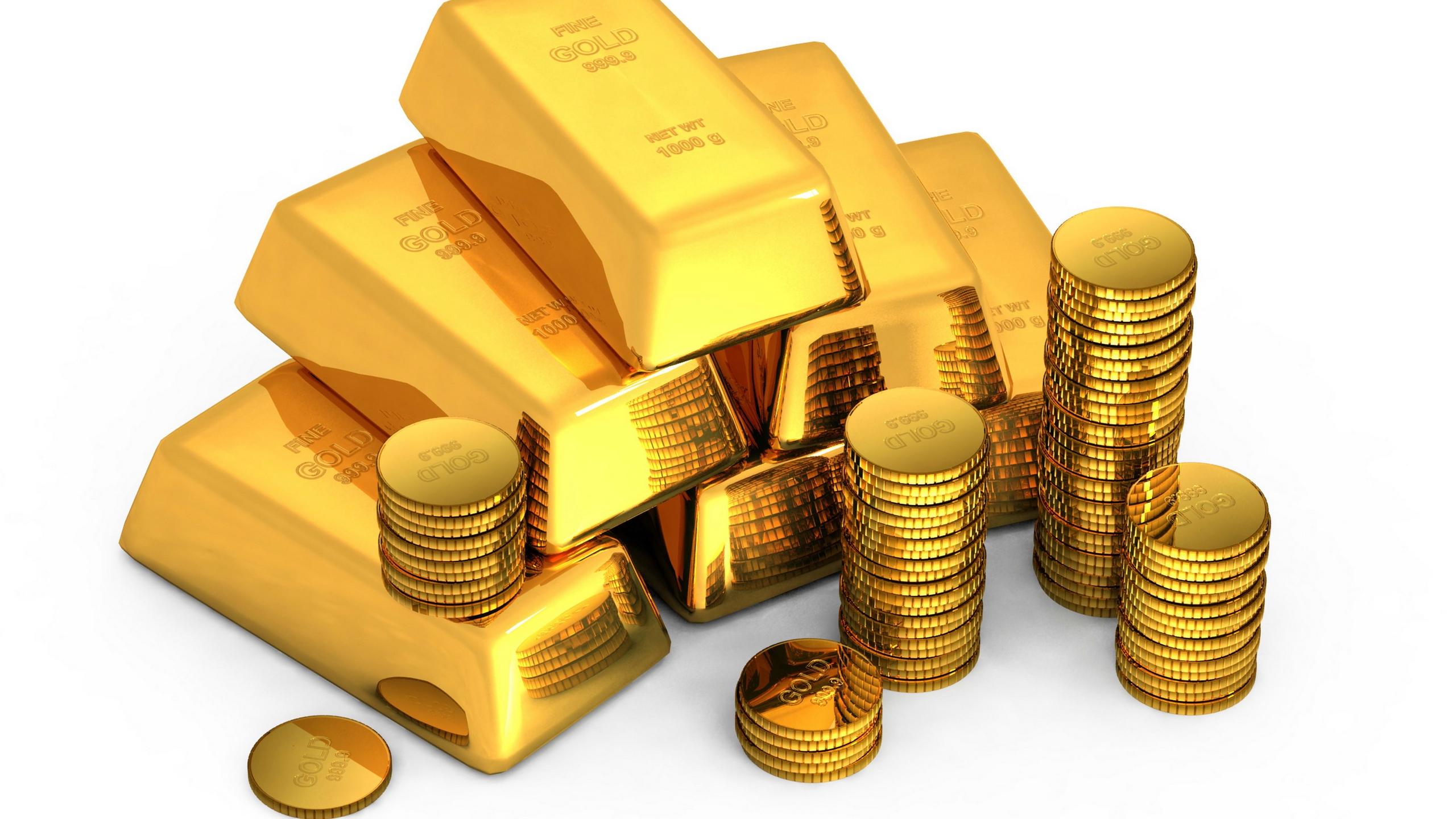 Wallpaper Gold Bullion Coins White Background Money 2560x1440