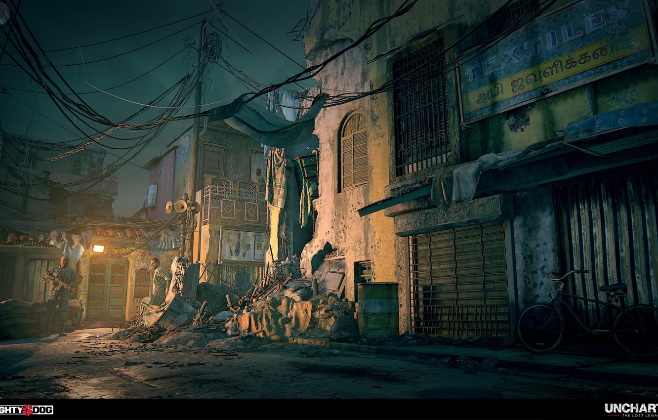 Wallpaper bike garbage street Uncharted The Lost Legacy 1332x850