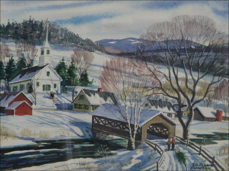 Auctions Image 1 SASCHA MAURER 1897 1961 NEW ENGLAND WINTER SCENE 735x550