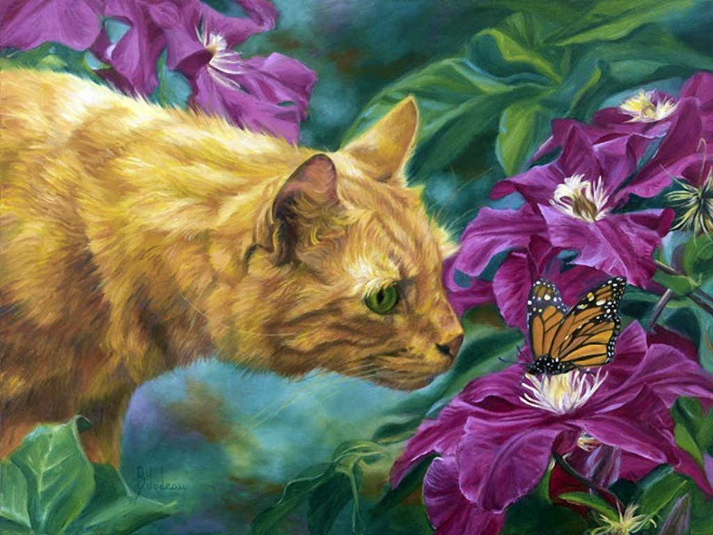 Cat and butterfly   95485   High Quality and Resolution Wallpapers 1024x768