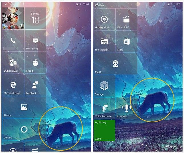 Wallpaper Efek Paralaks dan Start Screen Windows 10 Mobile 645x536