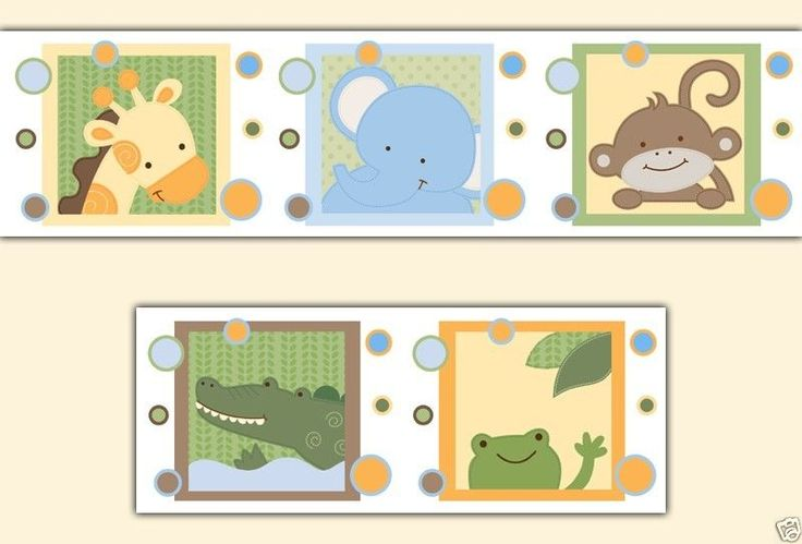 Sticker Safari Nursery Animal Wallpaper and Wallpaper Borders 736x499