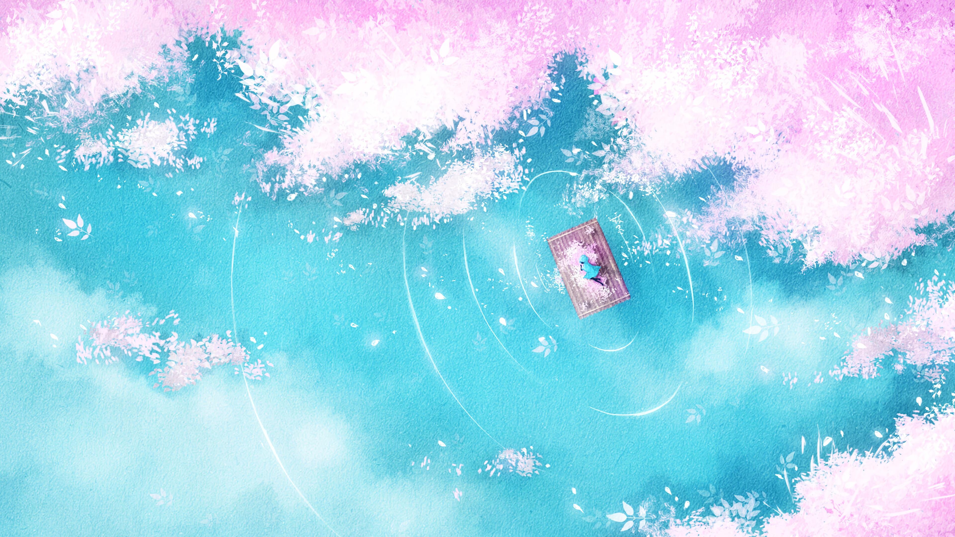 Download wallpaper 3840x2160 lake raft silhouette shore art 4k 3840x2160