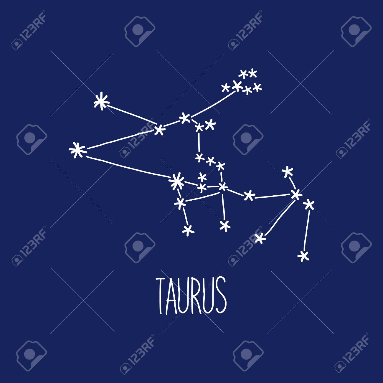 Cute Background With Schematic Hand Drawn Zodiac Constellation 1300x1300