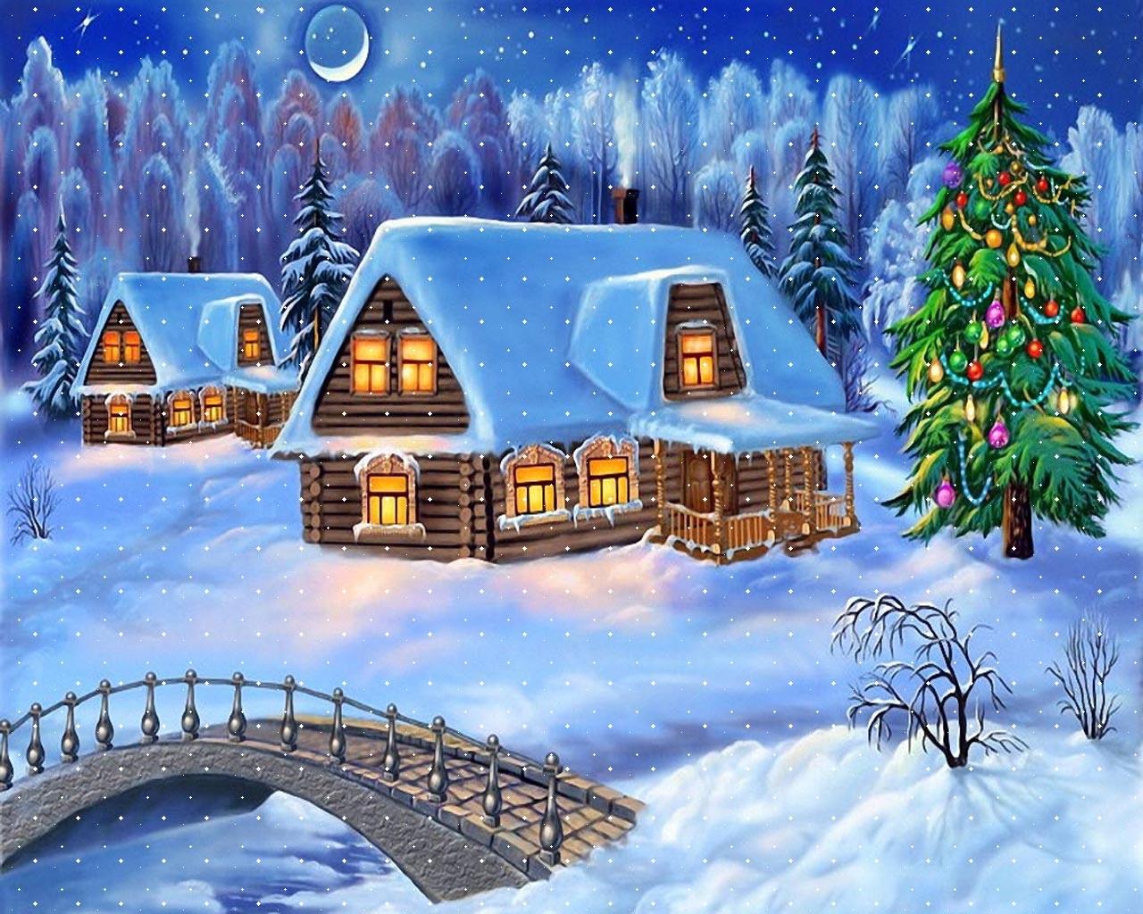 Snowy Christmas Night Decoration with Christmas Tree Wallpaper HD 1280x1024
