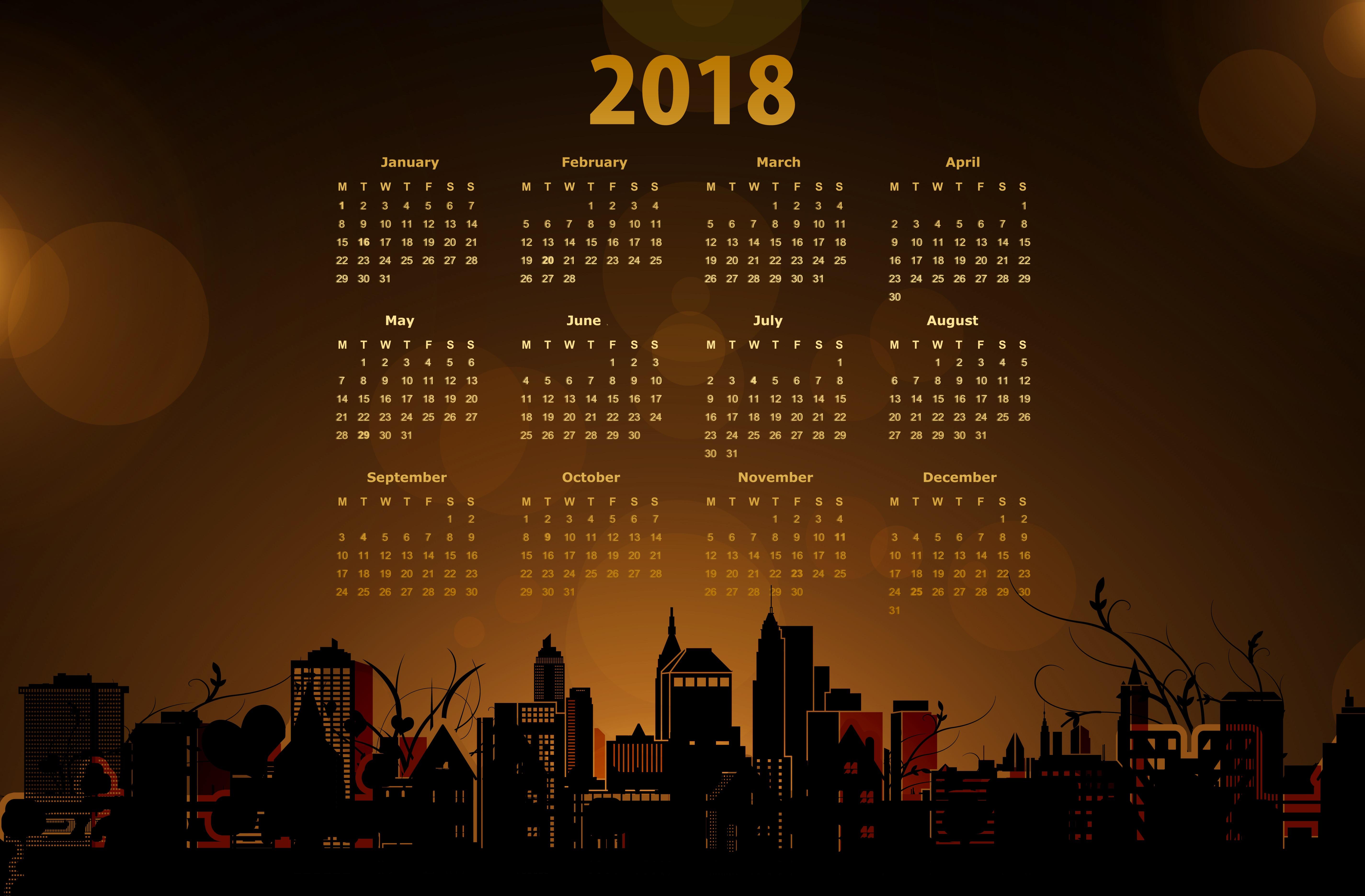 2018 Calendar with a Cityscape 5k Retina Ultra HD 5700x3741