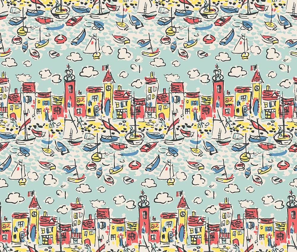 Mid Century St Tropez by The Vintage Collection   Aqua   Wallpaper 1000x848