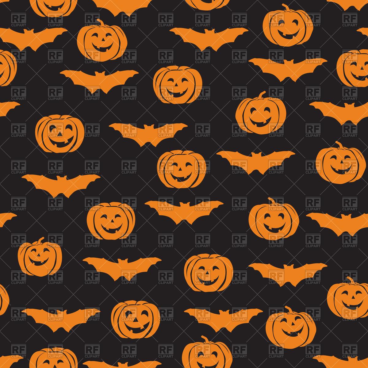 Halloween seamless pattern with bat and pumpkin on black 1200x1200