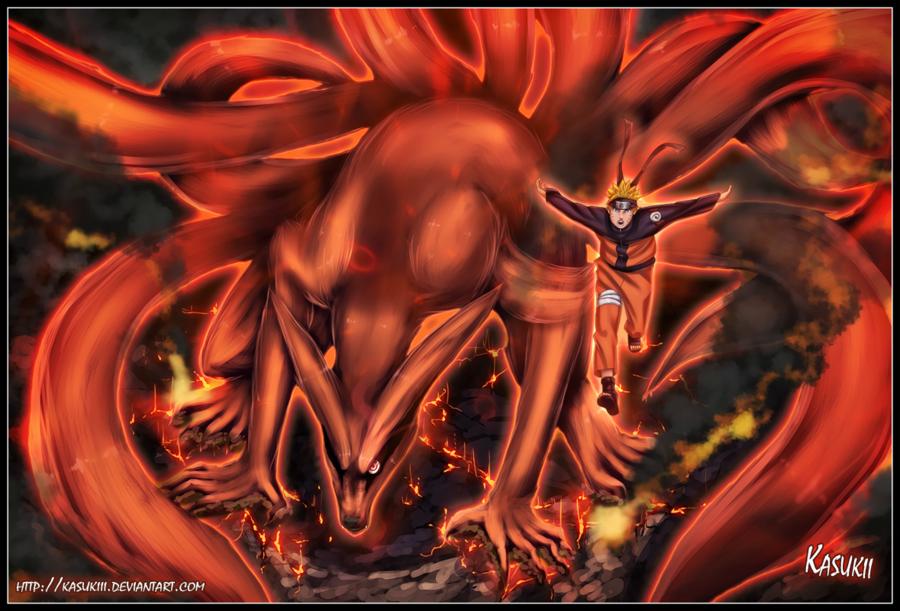 Nine Tails and Naruto by Kasukiii 900x611
