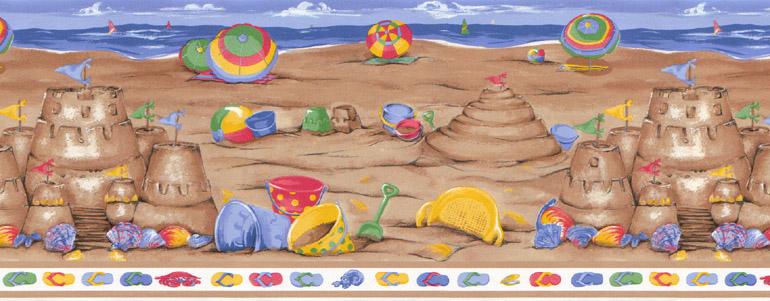 Details about CHILDREN SAND CASTLEBEACH Wallpaper Border LA73583B 770x301