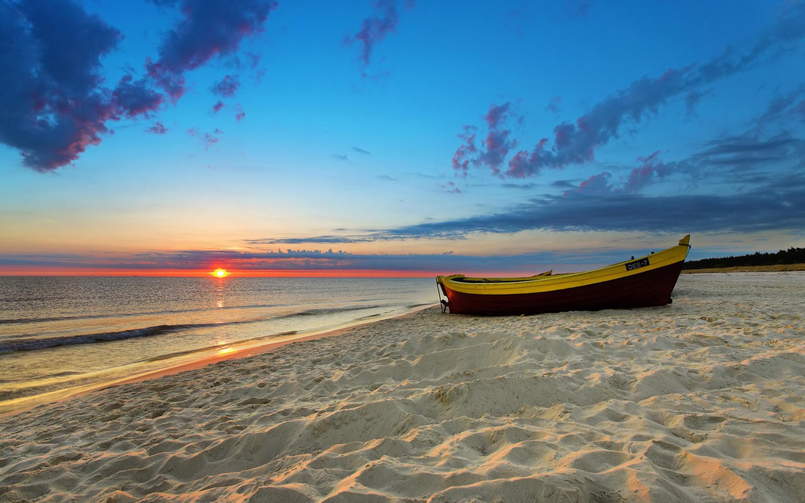 HD wallpaper : Sunset On The Beach Desktop Wallpaper Sand Boats by ...