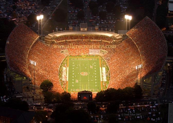 over Clemson Universitys Memorial Stadium nicknamed Death Valley 672x480