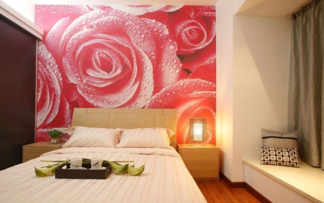 Rose wallpaper for bedroom Interior Design 1068x671