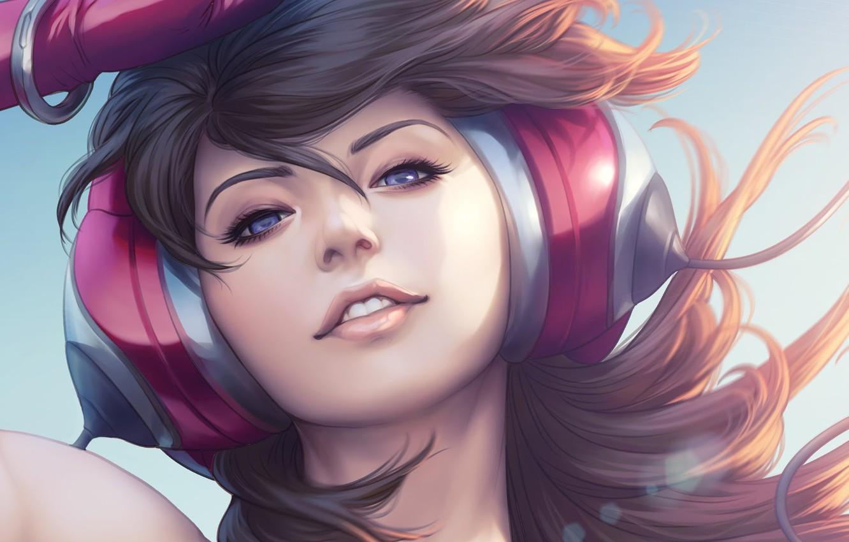 Wallpaper Girl Figure Look Headphones Lips Girl Hair Eyes 1332x850