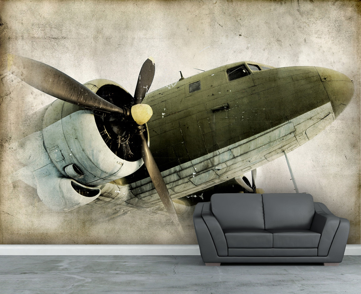 Items similar to Wall mural Retro propeller airplane wall paper wall 1155x942