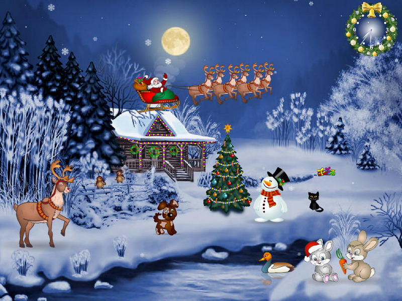 Free Christmas Screensaver - Christmas Evening - FullScreensavers.com