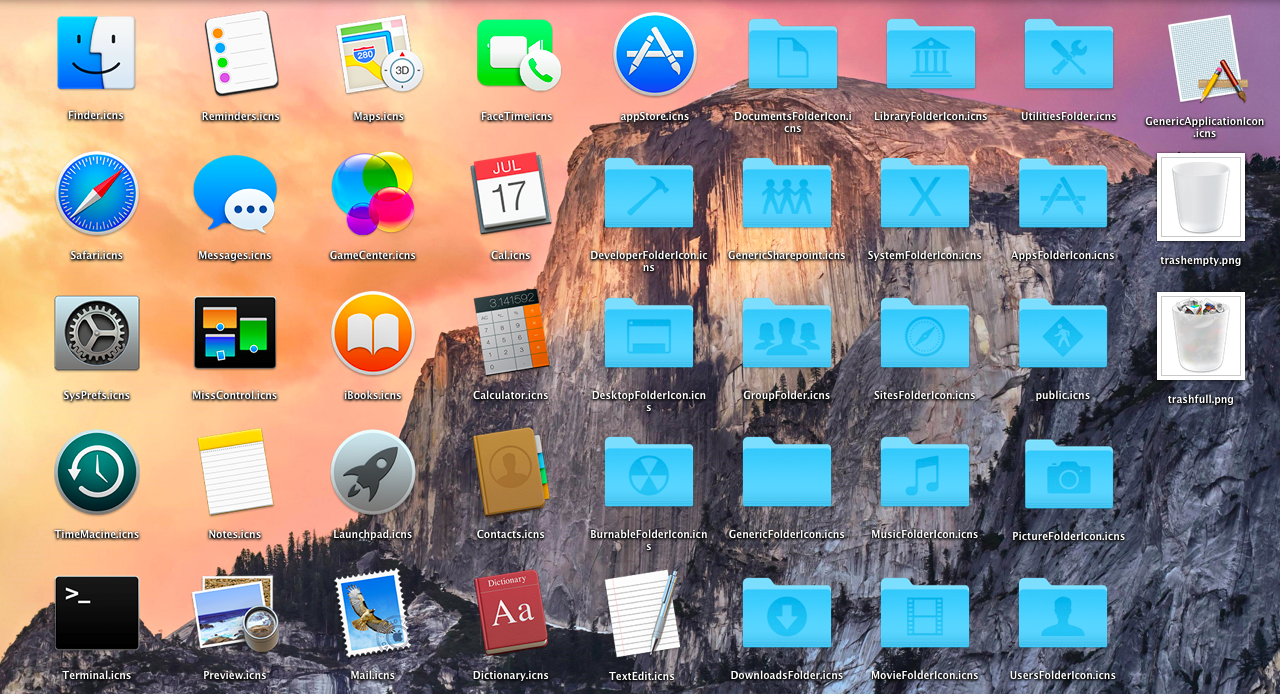 OS X Yosemite Icons   Apple Mac 1010 by cjchristianjoel 1280x694