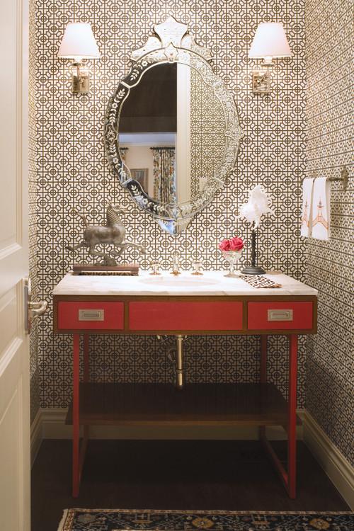 Contemporary Powder Room design by Denver Interior Designer Andrea 500x750