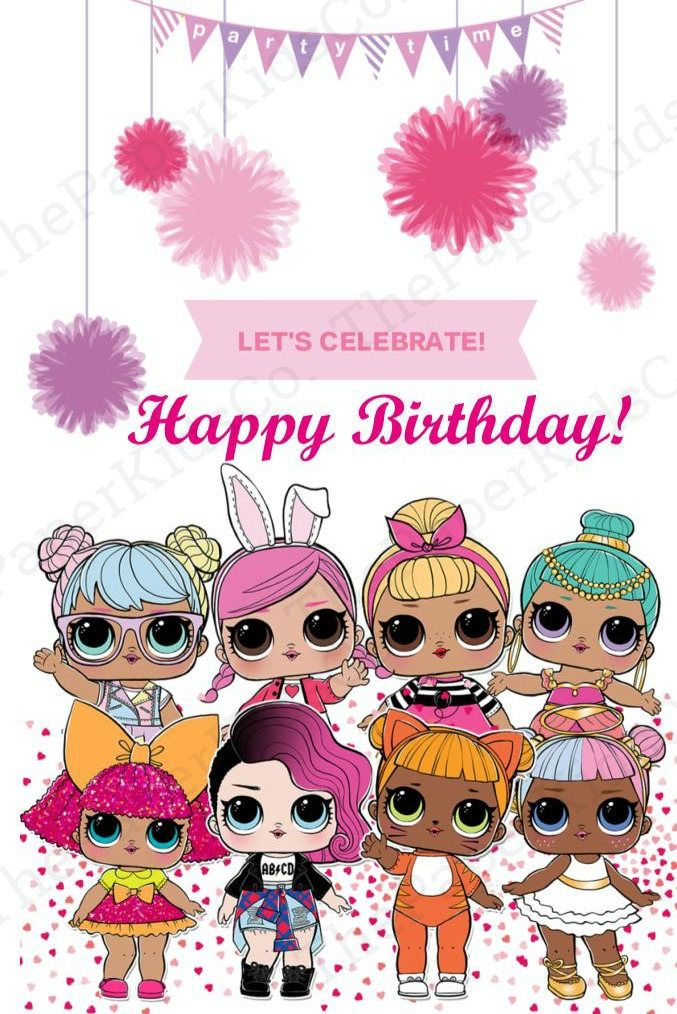 LOL Surprise Dolls   Custom made Birthday Card For Her 677x1014