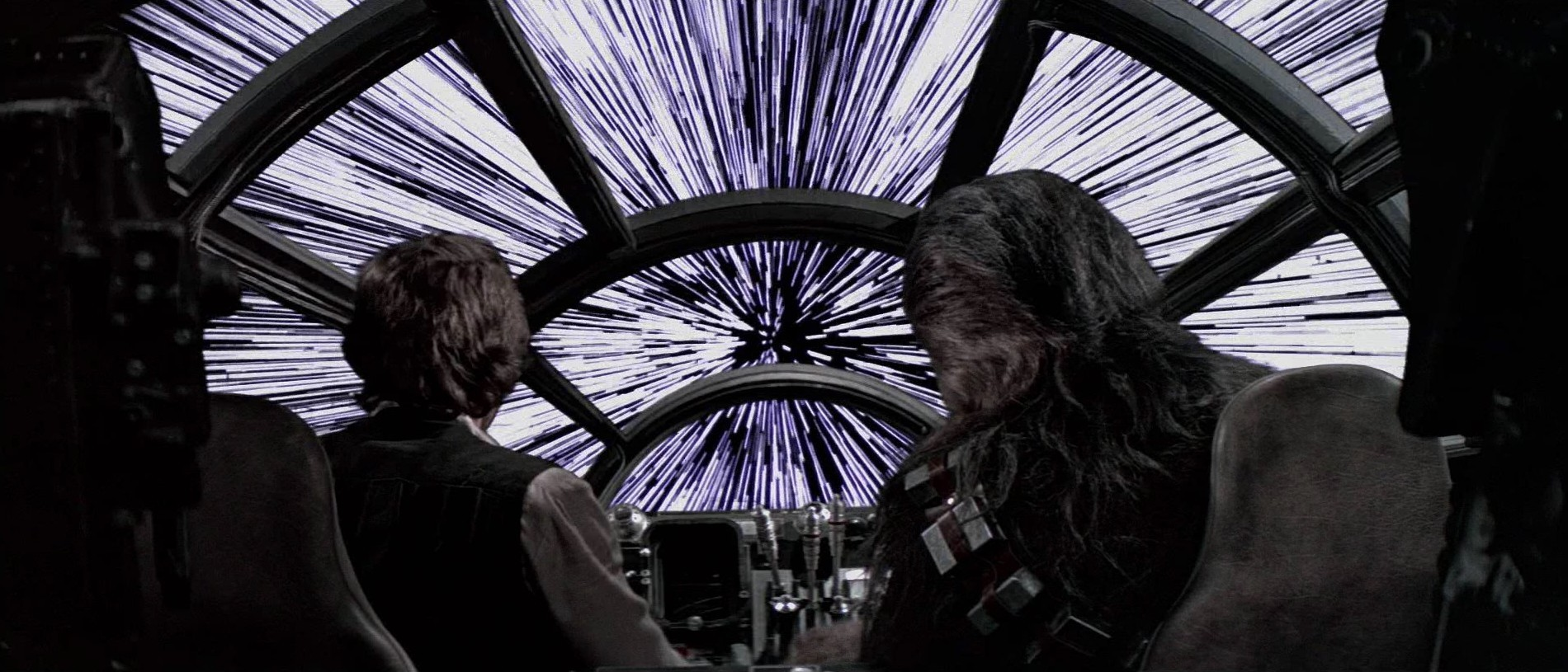 Millennium Falcon as she enters hyperspace from Star Wars Episode IV 1900x815