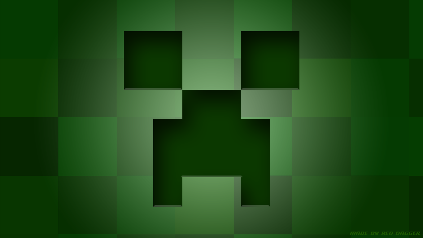 Minecraft Creeper Wallpaper Wallpapers Collection 1366x768