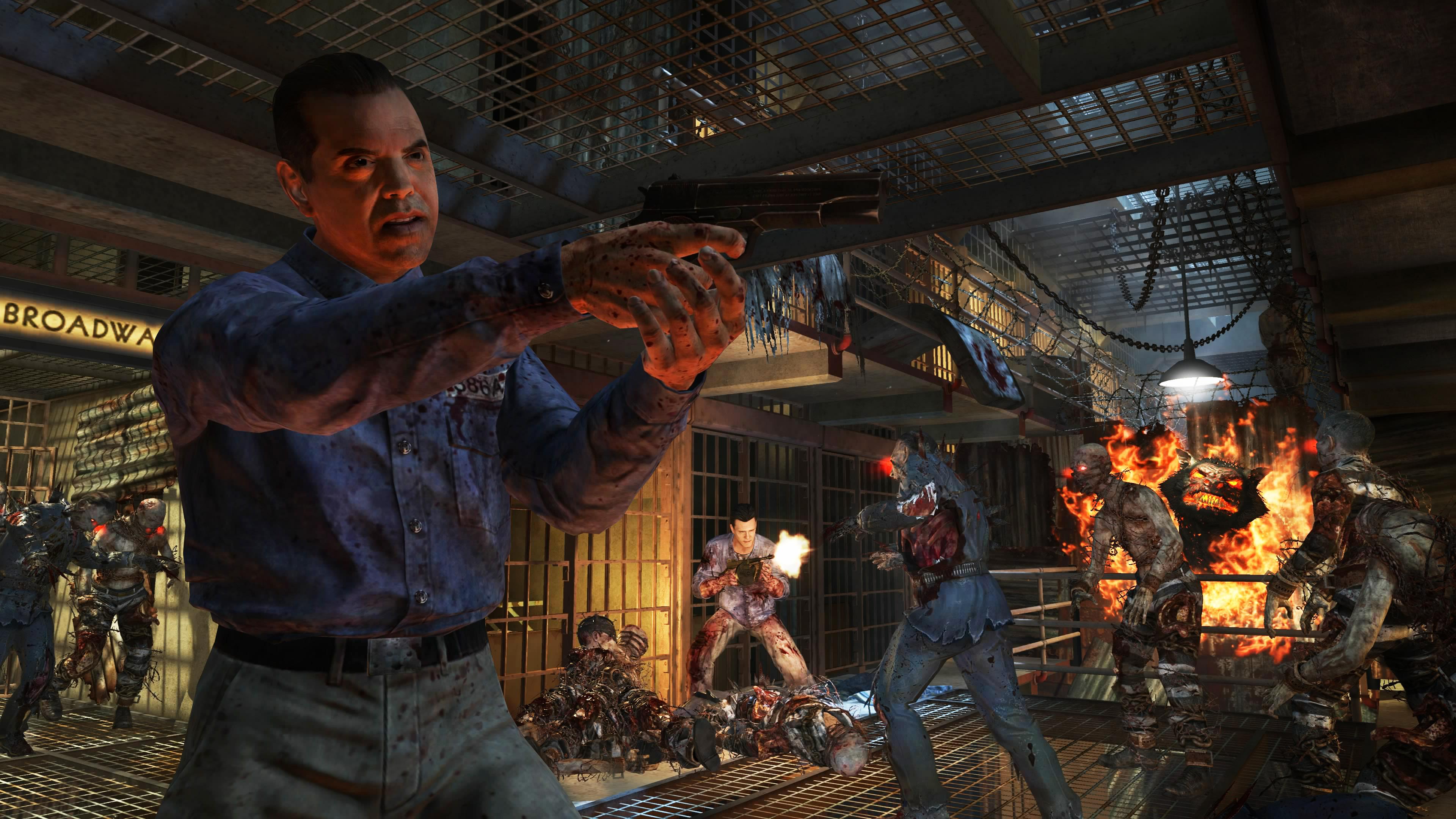 Duty Black Ops 2 Uprising warrior soldier weapon gun blood dark zombie 3840x2160
