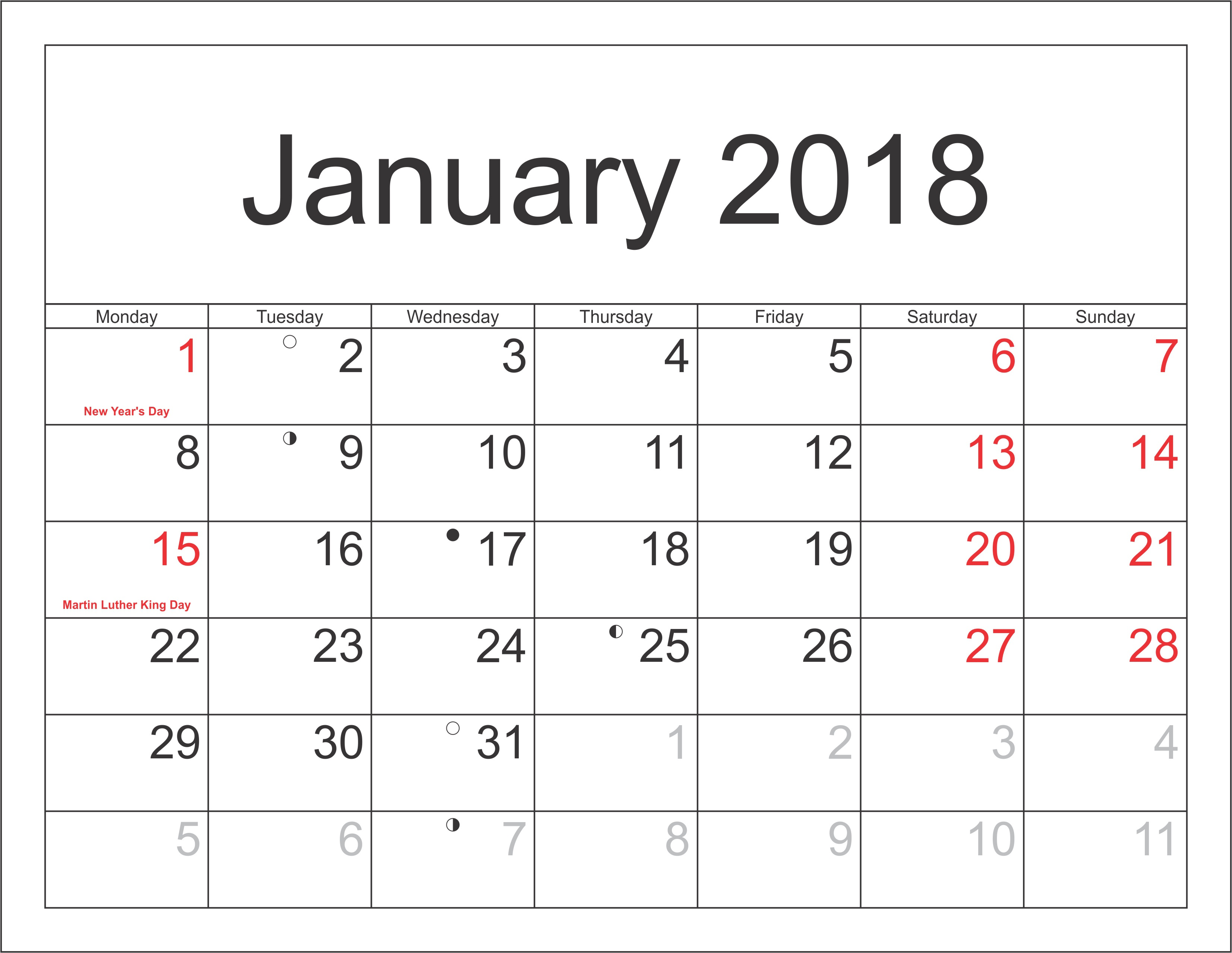 January Calendar 2018 Printable Latest HD Pictures 3306x2556