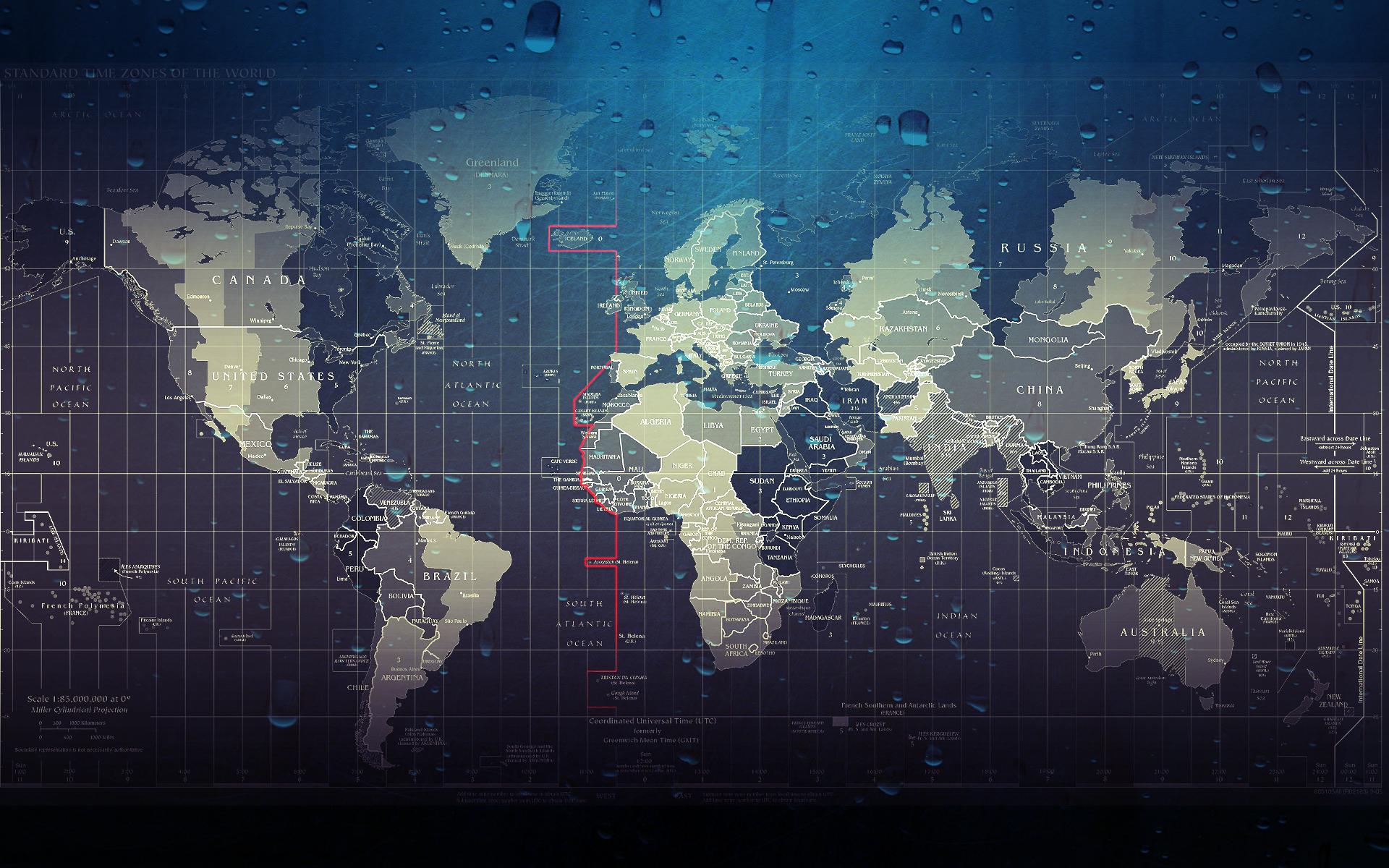 Wet maps water drops world map wallpaper background 1920x1200