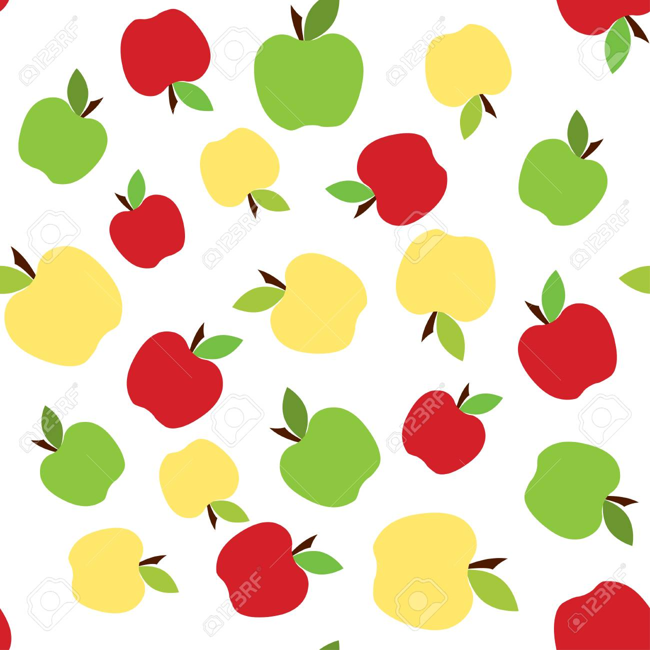 Green And Red Apples Seamless Pattern Background With Cute Fruits 1300x1300