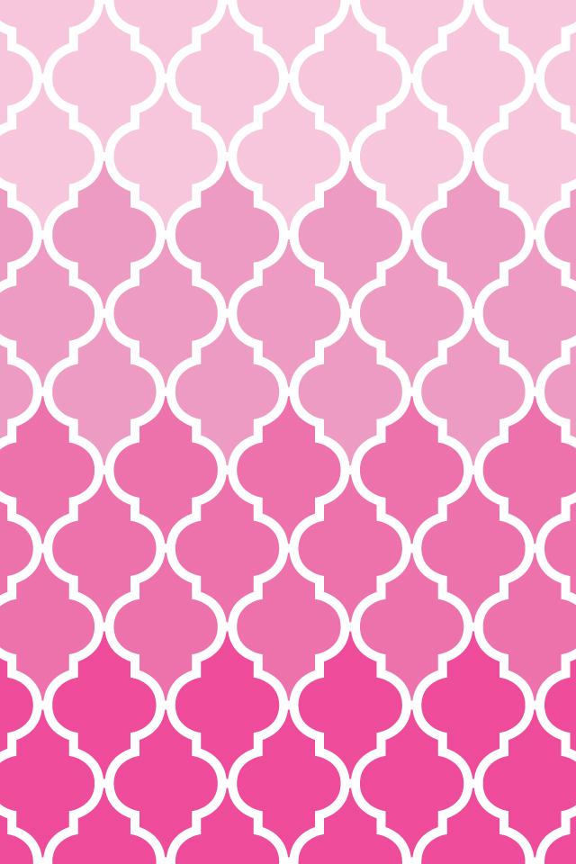 Printables BackgroundsWallpapers QuatrefoilOmbre Pink Aqua 640x960