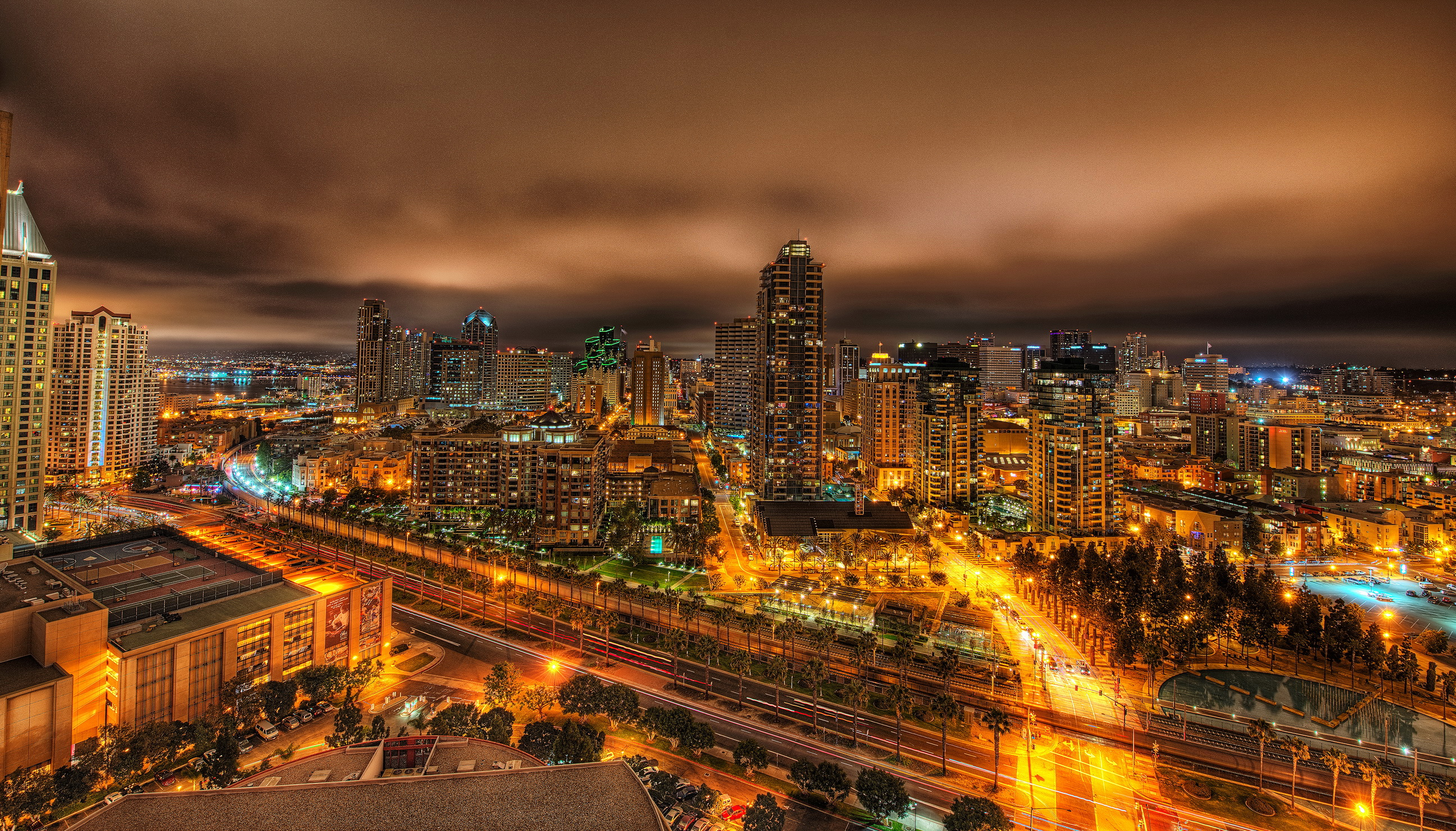 Wallpapers USA Houses California San Diego From above Night Megapolis 2592x1480