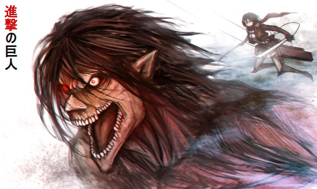 Eren Titan Form Mikasa Attack on Titan Anime HD Wallpaper Desktop 1024x611
