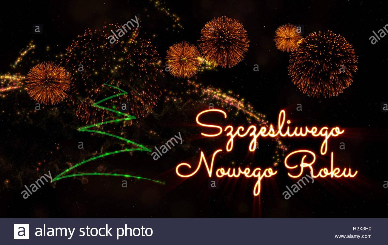 Happy New Year text in Polish Szczesliwego Nowego Roku over pine 1300x821