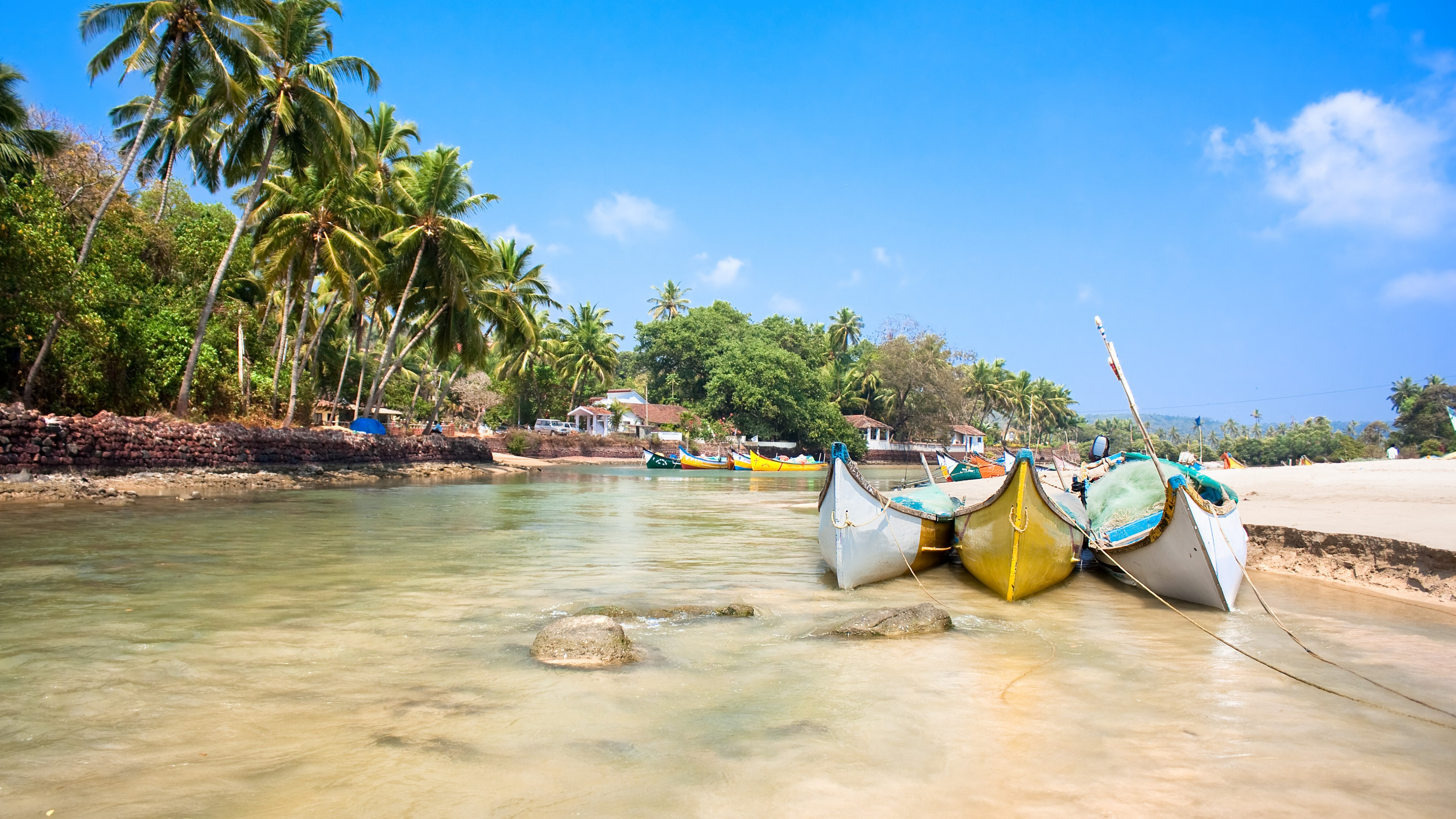 Wallpaper Goa 5k 4k wallpaper India Indian ocean palms boats 3840x2160