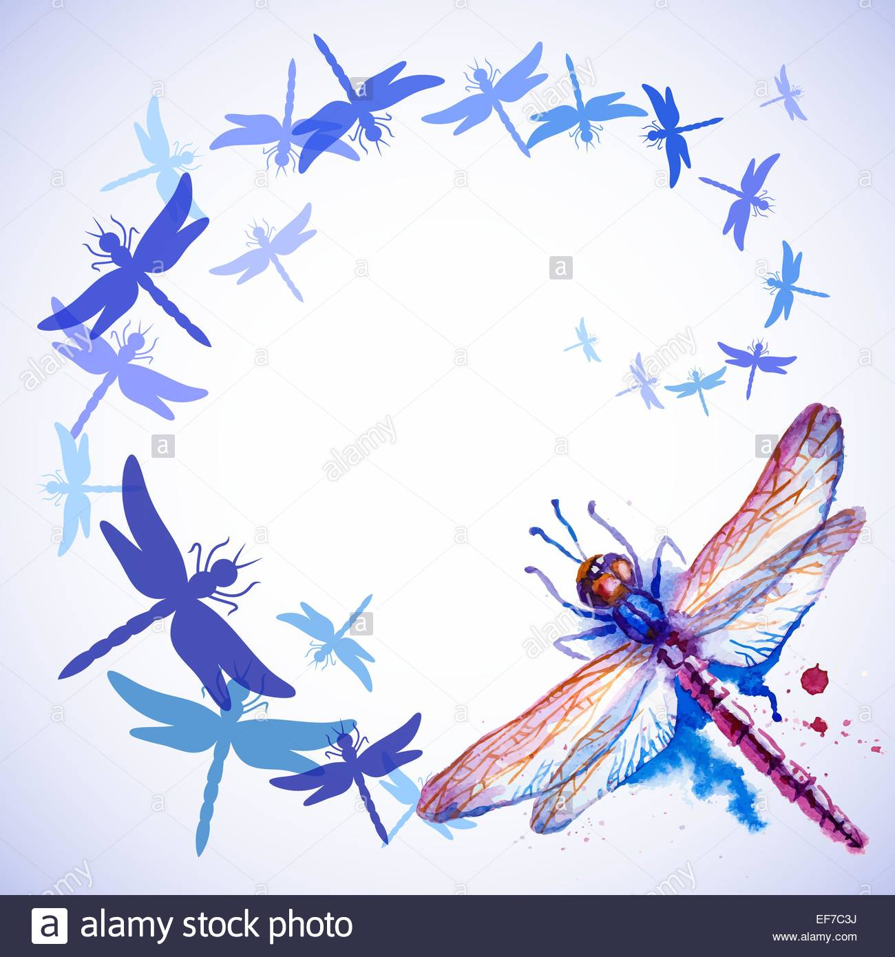 Vector greeting background with beautiful watercolor flying violet 1300x1390
