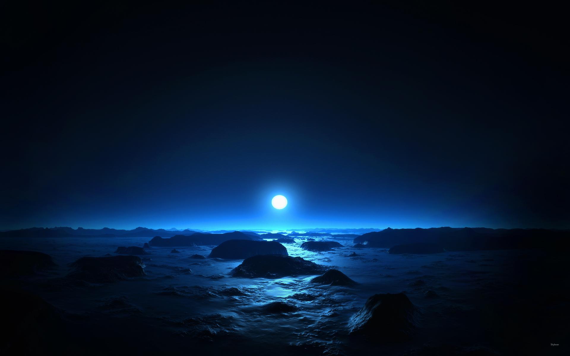 Sea Moon at Mid Night Wallpapers HD Wallpapers 1920x1200